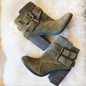 Shoemint 'Emma' olive block heel ankle boots